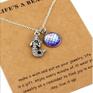 🦚 Life's a beach mermaid and charm necklace